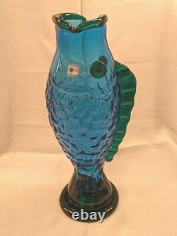 Vintage Blenko Handmade Glass Fish Vase Hank Adams Cobalt Blue/Emerald Green