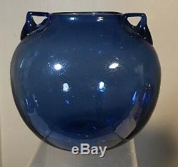 Vintage Blenko Seeded Glass Vase With Handles Pre Designer Blue Old