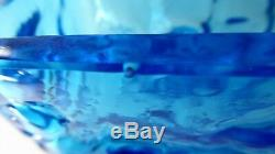 Vintage Blue Whitefriars Ice Textured Brick/ Block Vase