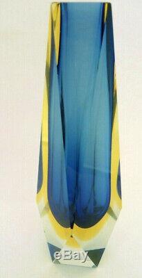 Vintage Blue / Yellow Italian Murano Mandruzzato Somerso Faceted Art Glass Vase