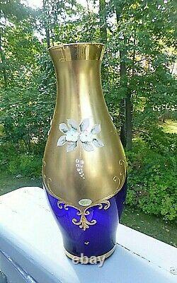 Vintage Bohemia Czech Gold Enamel Flowers Cobalt Blue Crystal Vase with Label