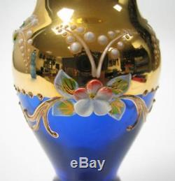 Vintage Bohemian Cobalt Blue Crystal Flower Vase Gold Gilded Floral Hand Made