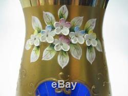 Vintage Bohemian Cobalt Blue Hand Made Crystal Vase Gold Gilded Flowers Motive