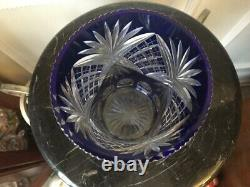 Vintage Bohemian Czech Cobalt Blue Cut to Clear 7 Vase
