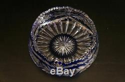Vintage Bohemian Czech Crystal Bowl Vase Cut To Clear Cobalt Blue