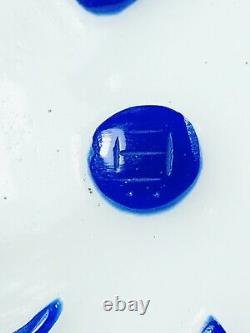Vintage Chinese 10 Peking Glass Cobalt Blue Flowers On White Maker Mark Heavy