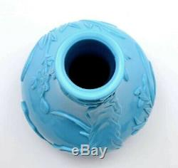 Vintage Chinese Sky Blue Peking Glass Carved Carving Vase Bird Flower