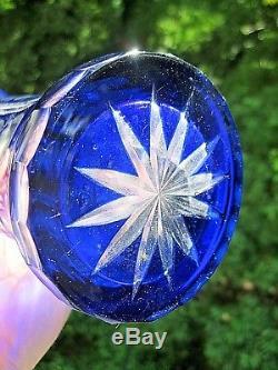 Vintage Czech Bohemia Cobalt Blue Cut To Clear Large Vasestunning