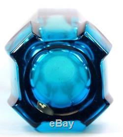 Vintage Czech Rudolf Jurnikl Studio Art Glass Vase Azura Blue Circa 1960