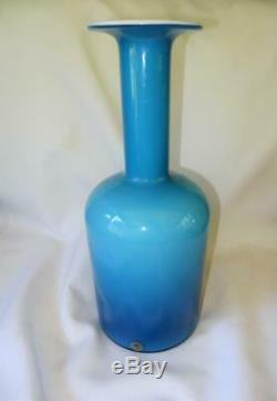 Vintage Danish Holmegaard Robins Egg Blue & White Cased 15 Art Glass Vase