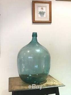 Vintage Ex Large XL Huge Chunky Glass Carboy Bottle Demijohn Vase Display Blue