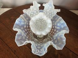 Vintage Fenton 4-Piece Epergnette Epergne Vase Blue Hobnail #WH-2