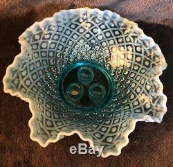 Vintage Fenton Art Glass Blue Opalescent Hobnail 3 Horn Trumpet Epergne Vase
