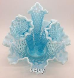 Vintage Fenton Art Glass Opalescent Hobnail 3 Horn Trumpet Epergne Vase