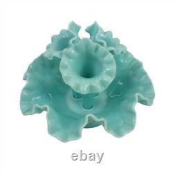 Vintage Fenton Blue Epergne Hobnail Vase 4 pc Small 7 high