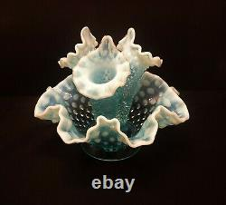 Vintage Fenton Blue Opalescent Hobnail Epergne 3 Horn 8 Diameter Apt Size #3801