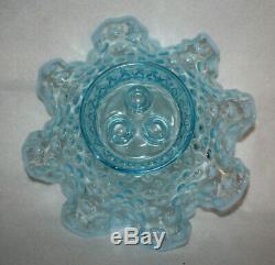 Vintage Fenton Glass Opalescent Hobnail 3 Horn Trumpet Epergne Vase