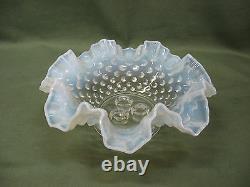 Vintage Fenton Hobnail Opalescent White Glass Three-Horn Ruffled Epergne Art