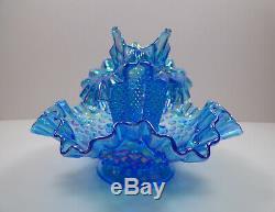 Vintage Fenton Iridescent Blue Carnival Hobnail 4-piece Epergne Vase Sharp
