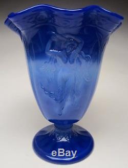 Vintage Fenton Periwinkle Blue #901 Dancing Ladies Original Fluted Vase 1934-35