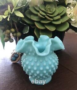 Vintage Fenton Turquoise Milk Glass Hobnail Ball Vase Ruffled 4 1/2