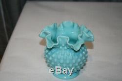 Vintage Fenton Turquoise Milk Glass Hobnail Ball Vase Ruffled 4 1/2 Exc. Cond