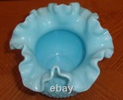 Vintage Fenton Turquoise Milk Glass Hobnail Ball Vase Ruffled Robin Egg Blue