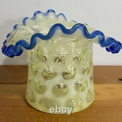 Vintage Fenton Yellow Opalescent Coin Dot Blue Ruffle Hat Vase Original Tag