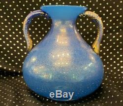 Vintage Fine Blue Gold Dust Venetian Murano Glass Vase