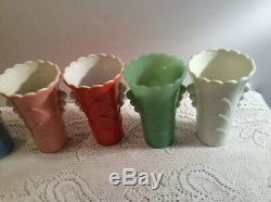 Vintage Fire King Art Deco Vases (8) All Different Colors Jadeite, Blue Yellow, O