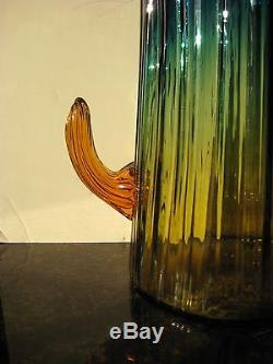 Vintage Funky Blenko Cactus Vase Xlg Size Yellowish To Blue W Amber