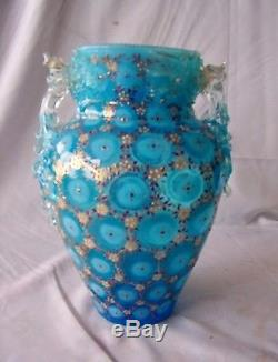 Vintage Hand Blown Blue Opalescent Enameled Art Glass Two-Handled Vase
