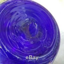 Vintage Hand Blown Don Shepherd Blenko Glass 19 Vase #8136 in Sapphire
