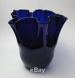 Vintage Italian Murano Vibrant Cobalt Blue Art Glass Vase MID Century Eames Era