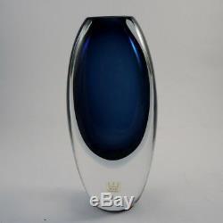 Vintage Kosta Vicke Lindstrand Blue Sommerso Vase 41826 1950's 18cm