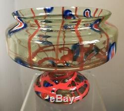 Vintage Kralik Czech Glass Vase Lines Canes Uranium Vaseline Good Color Blue