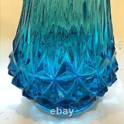 Vintage L. E. Smith Glass Swung Vase Turquoise Blue