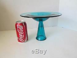 Vintage LE Smith Glass BLUE UFO Pedestal Taper Candleholder Mid Century Modern