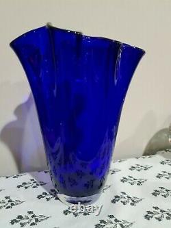 Vintage Large Cobalt Blue Ruffled 10 Blown Glass Vase Poland Polish Jozephina