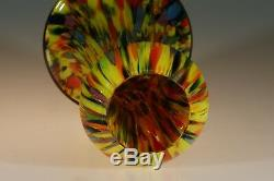 Vintage Large Deco Czech End of Day Vase Orange Yellow Blue Green Red c. 1935