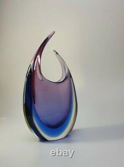 Vintage Luigi Onesto Italian Murano Glass Fishtail Art Vase Purple/Blue Sommerso