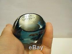 Vintage MCM 1950s Vicke Lindstrand Sommerso Teal Blue Vase Kosta Boda LH 1709/49