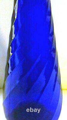 Vintage Mcm Italian Empoli Cobalt Blue Twist Genie Bottle Decanter Vase