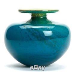 Vintage Mdina Stylish Blue Art Glass Vase 20th C