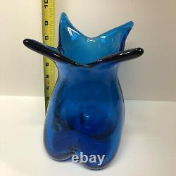 Vintage Mid Century Blenko Art Glass Pre Designer 453 Turquoise Melon Vase 9 1/2