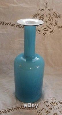 Vintage Mid Century Holmegaard Gulvase Otto Brauer Blue & White Cased Glass Vase