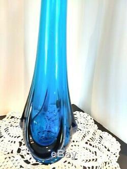 Vintage Mid Century Modern VIKING Stretch teal blue Art Glass Swung Vase 19.25