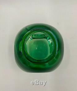 Vintage Mid Century Sommerso Murano Art Glass Faceted Vase Green Blue