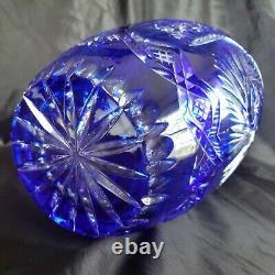 Vintage Moser Carlsbad Bohemian Cobalt Blue Cut to Clear Crystal 10 Vase SIGNED