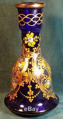 Vintage Moser Style Bohemian Blue Glass Painted Vase Decanter With Gilding